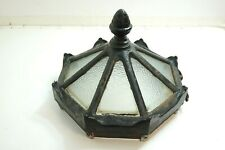 ANTIQUE 1880'S VICTORIAN CAST IRON AND GLASS STREET LAMP COVER W/ ACORN FINIAL