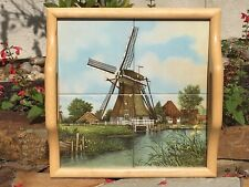 Vtg Ter Steege Holland Colored 4 Tile Serving Tray Dutch Windmill J.C. v. Hunnik