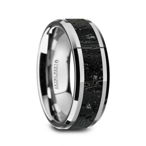 Polished Tungsten with Lava Rock Stone Inlay Men's Wedding Band - 8mm NEW