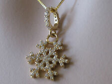 18k solid gold stamped snowflake pendent/charm WITH SOLID 18CT GOLD CHAIN