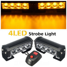 4-LED 12V Car Amber Strobe Flash Grille Light Warning Hazard Emergency Lamp Bars
