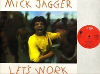 "MICK JAGGER (OF ROLLING STONES) let's work 651028 6 uk cbs 1987 12"" PS EX/EX"