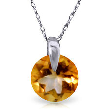 0.8 CTW 14K Solid White gold fine Castles Not In Air Citrine Necklace 16-24""