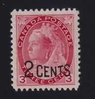 Canada Sc #88 (1899) 2c on 3c carmine Numeral Mint VF NH