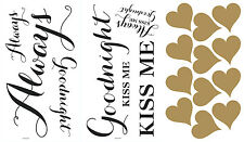 Always Kiss Me Goodnight Wall Decals NEW Large Quote Stickers Home Decor