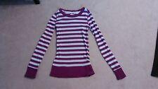 Energie M purple stripped long sleeve shirt top blouse RN33364