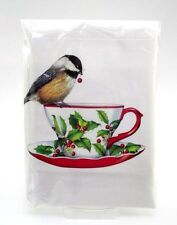 MARY LAKE THOMPSON  Bagged Cotton Flour Sack Kitchen Towel ~ TEACUP & CHICKADEE