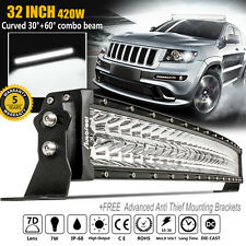420W 32INCH Curved LED WORK LIGHT BAR Offroad Truck Jeep Ford CREE 30 SPOT FLOOD