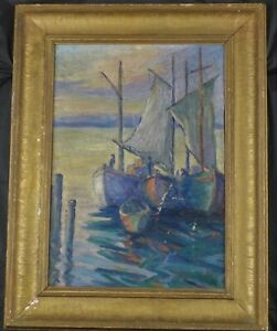 Antique Original Oil Painting A Gloucester Sunset by Walter Brough Listed