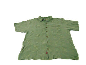 Tommy Bahama Shirt Green Embroidered Button Down Short Sleeve Mens Size XL