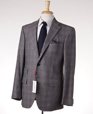 NWT $4295 LUCIANO BARBERA SARTORIALE Gray Windowpane Check Wool Suit 40 R (Eu50)