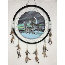 """Giant 26"""" Wolves Moon Northern Lights Night Scene Dream Catcher Feathers 2670"""