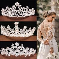 Wedding Bridal Princess Crystal Prom Hair Tiara Crown Veil Headband with Comb