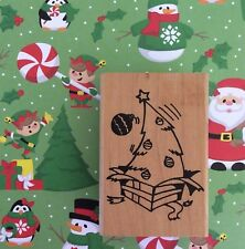 Christmas Tree Wood Mount Rubber Stamp Surprise Present Holiday Party Invitation