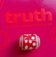 Genuine TRUTH sterling silver PK 925 red white spot glass bracelet charm bead