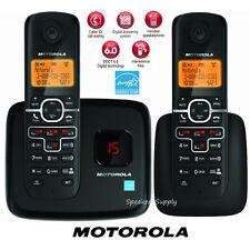 Motorola Digital Wireless 2 Handsets Cordless Home Phone System DECT Black L702M