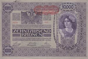 10 000 KRONEN VERY FINE BANKNOTE FROM AUSTRIA 1919 PICK-65
