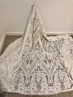 "White Stretch Sequins Embroidery Lace Fabric 50"" Width Sold By The Yard"