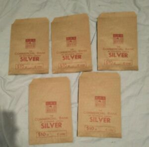 1960s UNUSED! 5 X SILVER 10 DOLLAR PAPER COIN BAG COMMERCIAL BANK AUSTRALIA CBA