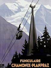Transporte De Viajes funicular cayeron Chamonix Francia Alpes Nieve posterbb 7660B