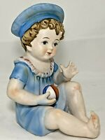 "Piano Baby Figurine Sailor Baby w/Ball Bisque Porcelain Figurine 6.25""H Antique"
