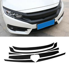 Set Carbon Fiber Texture Front Grille Stickers For Honda Civic Sedan 2016-2018