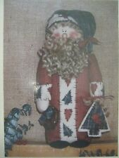 "Vtg 13"" MUSLIN SANTA STITCHES Primitive Folk Art Pattern Appleblossom Hollow NEW"