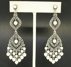 Marcasite Sterling Silver Large Long Dangle Chandelier White Pearl Earrings