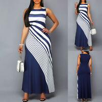 ❤️ Womens Striped Sleeveless Bodycon Long Maxi Dress Summer Ladies Evening Party