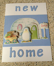 Large Handmade 3d decoupage New Home Moving House card A5 size cute penguin