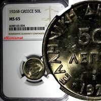 GREECE Copper-Nickel 1926 B 50 Lepta NGC MS65 Athena Vienna Mint KM# 68