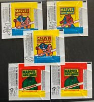 1976 Topps Marvel Super Heroes Wax Pack Wrapper Lot - 5 Wrapper Collection