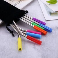 8PCS Bar With Brush Stainless Steel Straight Bend Drinking Straw Silicone Tip