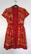 Vintage Bright Batik Dress Lanz made in austria red orange print, mock neck S Xs