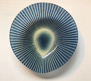 Maurice Heaton Blue Teardrop-Shaped Art Glass Bowl