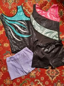 GIRLS DANCE/ GYMNASTIC LEOTARDS AND SHORTS AGE 7-8