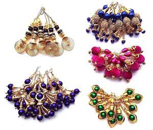 NEW Dangles Tassel Latkan Saree Blouse Dupatta Dress Stitch Asian Indian Blouse