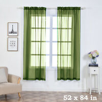 "2 pcs Willow Green 52"" x 84"" Sheer Organza Window CURTAINS Drapes Panels Home"