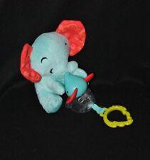 Peluche doudou maman & bébé éléphant FISHER PRICE 2014 vibrant grelot 16 cm TTBE