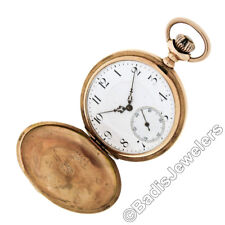 Antique Zenith Etched Pocket Watch Large Solid 14K Yellow Gold Full Hunter Case