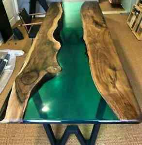 """72"""" x 36"""" Epoxy Resin Wooden Dining Table Top Handmade Work"""