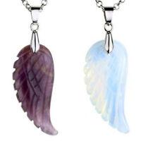 Natural Gemstone Carved Crystal Healing Angel Wings Reiki Chakra Energy Pendant