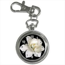 Gardenia Flowers Pocket Watch Keychain