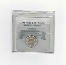 **1933**, Coin Mart  Graded Canadian,  10  Cent, **AU-58**NGC #2621490-002