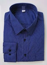 Ex M&S REGULAR FIT COTTON BLEND EASYCARE SHIRT DK BLUE STRIPE NEW 14.5-18.5 A17