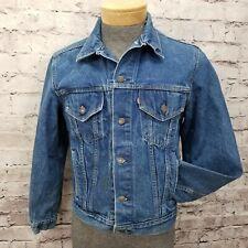 Vintage LEVIS 70506 0214 Size 42R Dark Denim Trucker Jean Jacket Distressed USA