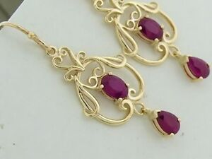 E040 Genuine 9ct 9K Yellow Gold NATURAL Ruby Filigree Earrings Drop Chandeliers