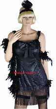 1920's 20's Flapper Chicago Gangster's Moll Fancy Dress Costume M / L 10 12 14