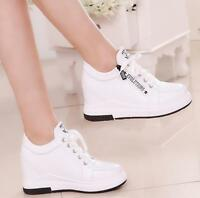 Women's Hidden Heel Lace Up Zip Casual Sports Sneakers Fashion Shoes New Q4054