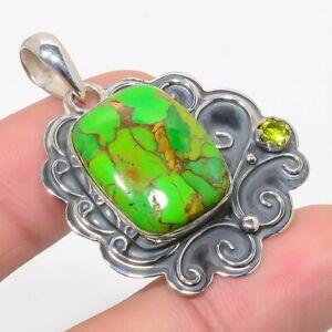 "Arizona Green Copper Turquoise & Peridot 925 Sterling Silver Pendant 1.8"" M1566"